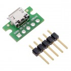 USB Micro-B Connector Breakout Board-Pololu