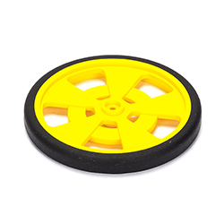 Solarbotics YELLOW Servo Wheel with Encoder Stripes Silicon Tire