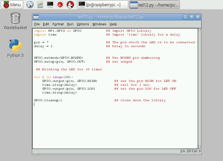 Programming in Raspberry Pi 2 using Python