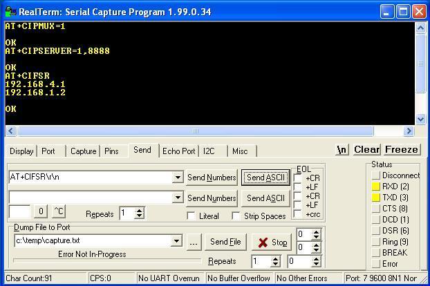 Server-Client Communication using ESP8266 Serial WiFi Module (ESP-01)