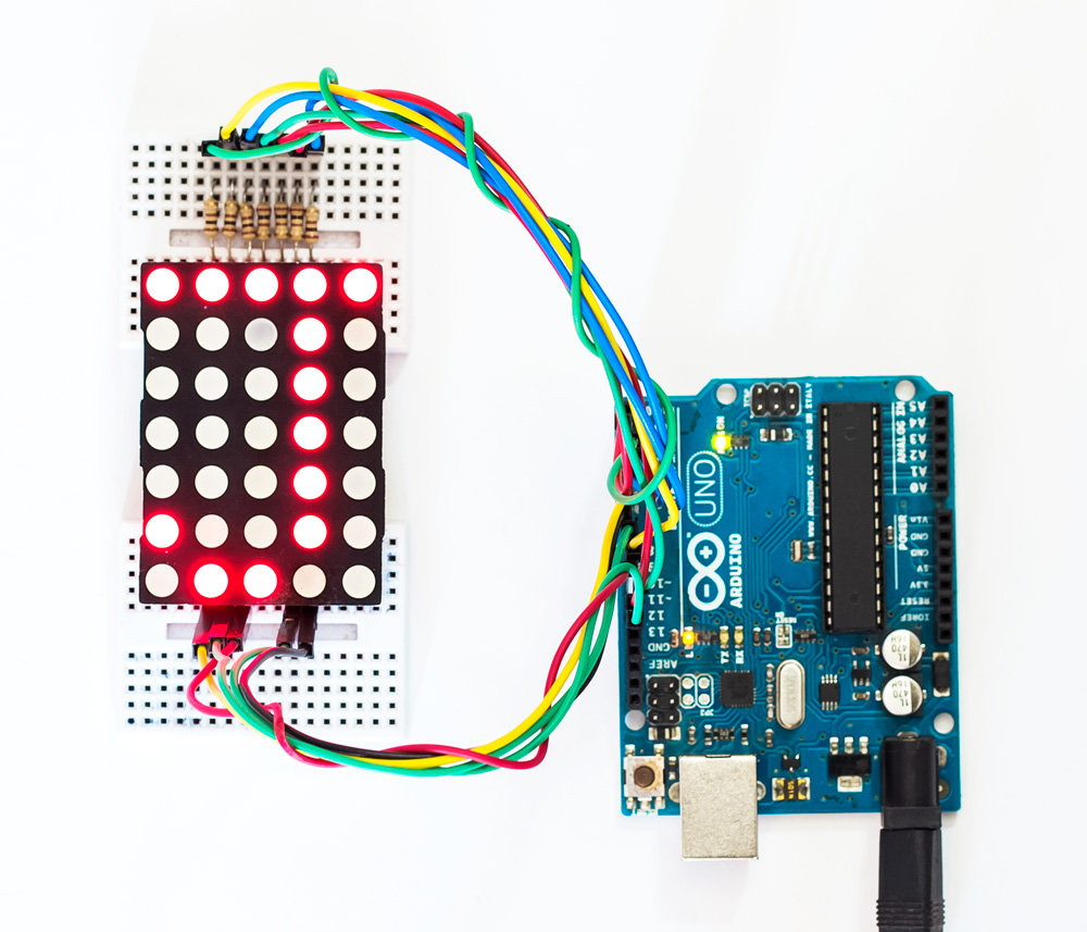 Interfacing DOT MATRIX ARRAY with Arduino