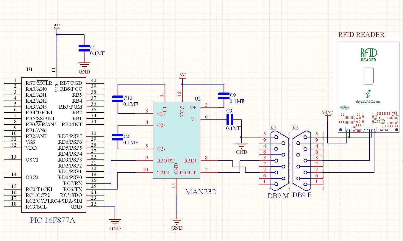 Read Rfid Tag Using Reader125khz Rs232 Uart Pin Diagram Sample