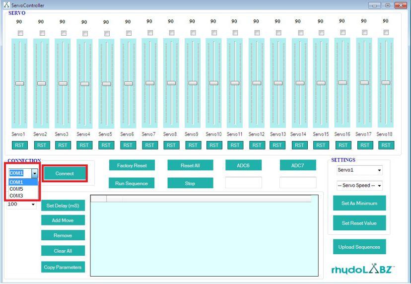 Arduino servo control software