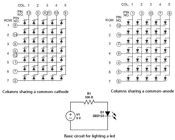 interfacing dot matrix array with arduino