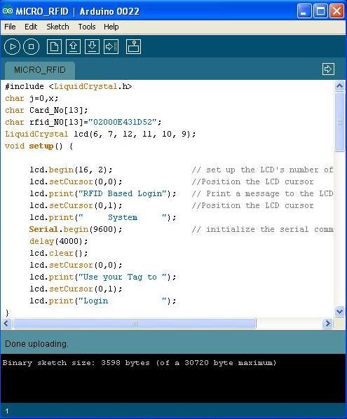 Interfacing EM-18 μRFID reader TTL protocol with Arduino Uno